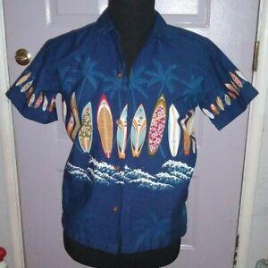 KY'S US made   Floral Hawaiian   Button up  shirt  KID'S   Large   EUC