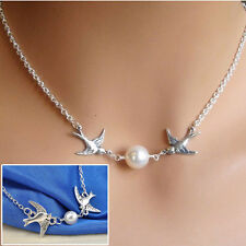 Lady Fashion Simple Silver Plated Double Swallows Birds Flying Pendant Necklace