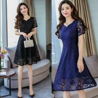 Fashion Womens Swing Short Sleeve Knee Length Lace Dress Ball Gown V Neck M-5XL