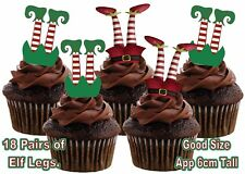 Christmas stocking Elf Elves Legs STAND UP Edible Wafer Card Cup Cake Toppers