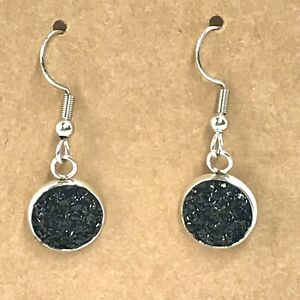 """Black Silver Druzy Earrings Sparkle Lightweight Faux Stone 1"""" Long Silvertone G"""