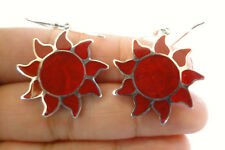 Rising Sun Red Fossil Coral 925 Sterling Silver Earrings