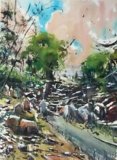 Landscape Painting Watercolor Original Countryside Impressionist Nature 11x15 in