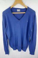 "J Lindeberg V Neck Golf Pullover Sweater XL (46"") Cotton Blue /JLXL1"