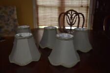 Chandelier Mini Lamp Shades Set of 5, 3 1/4 X 4 3/4 X 6 Olive Green w/Trim
