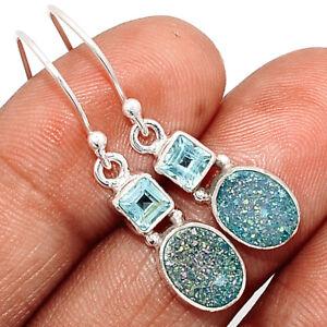 Marine Blue Aura Druzy & Blue Topaz 925 Sterling Silver Earrings Jewelry BE66459