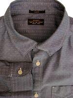 ALL SAINTS Shirt Mens 16 M Dark Grey - White Flecks SLIM FIT