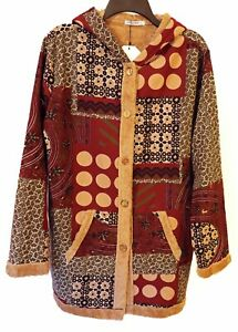 Artsy Cellabie Multicolor Patchwork Print Lined Hooded Jacket Size 2XL NWT