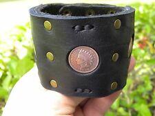 High Quality Buffalo leather cuff biker men bracelet Indian Head penny coins