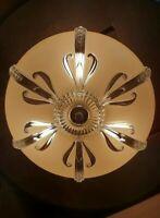 Vtg/Antique Art Deco Designer Glass Flush Mount Light Fixture Chandelier