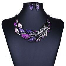 New purple Leaves Enamel Inlay Crystal Necklace Earrings Jewelry Sets for Women
