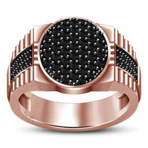 14K Rose Gold Finish Round Cut Black Diamond Men's Wedding Pinky Band Ring