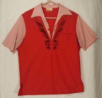 VTG Iolani McInerny Hawaiian Shirt Red Tribal Lounge Sz M