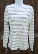 TO THE MAX IVORY BLUE MULTI STRIPED LONG SLEEVE COTTON BASIC TEE SHIRT TOP L NEW