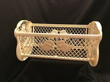 Vintage Plastic White Small Baby Doll Rocker Crib Bed Toy 1960s