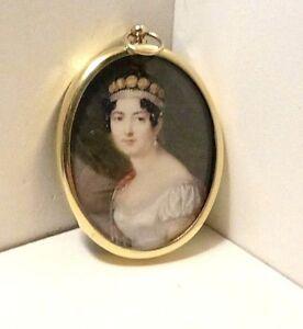 Portrait Miniature of the Empress Josephine on an oval brass frame.