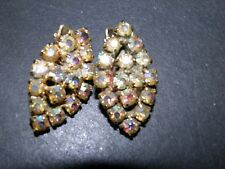 aurora rhinestone on gold tone  clip on earrings