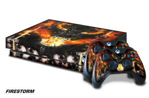 Xbox One X Console Skin with 2 Controller Decals Firestorm decal sticker wrap
