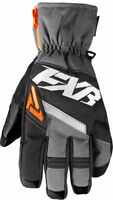 FXR Black/Charcoal/Orange Mens CX Short Cuff Insulated Snowmobile Gloves Snow