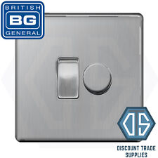 BG Brushed Steel Screwless 2 Gang Switch 1x LED Dimmer 1x 1  2 Way Custom Grid
