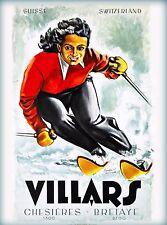 Villar Switzerland Ski Suisse Swiss Vintage Travel Advertisement Art Poster