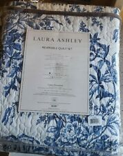Brand New Laura Ashley Bedford Cotton Reversible Quilt Set, King
