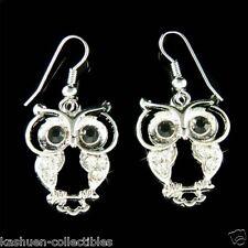Big w Swarovski Crytal ~Wise Smart Owl~ Wisdom Teacher Student Pendant Earrings
