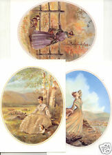 3 different Tasha Tudor Vintage Ladies Cards w Envelopes MINT from the 1990s
