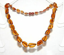 Baltic amber adult necklace, cherry color leaves beads 45 cm / 17.72 inch