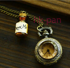 Drink Me Drift Wishing Bottle Retro Necklace Pocket Watch ALICE IN WONDERLAND