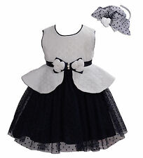 New Ivory and Dark Blue Flower Girl Party Bridesmaid Dress+Headband 8-9 Years