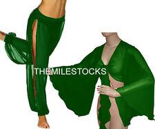 TMS E GREEN Slit Harem Yoga Pants Tops Belly Dance Costume Tribal Pantalons Haut