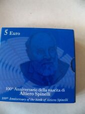 ITALIA-2007-5 EURO-100° NASITA DI ALFREDO SPINELLI-ARGENTO-FIOR DI CONIO