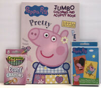New 3 Peppa Pig Jumbo Coloring Activity Book Pearl Crayons & Jumbo Playing Cards