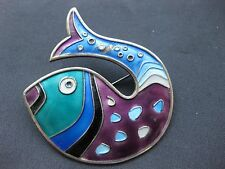Vintage David Andersen Norway Sterling Silver Modernist Enamel Fish Pin Brooch