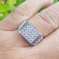 14k white gold plateted Micro Pave Gemstone Iced Out Hiphop sz 7-12 Pinky Ring