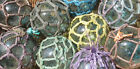 """Japanese Glass Fishing FLOATS 3"""" Netted LOT-9 Net Buoy Authentic Vintage!"""