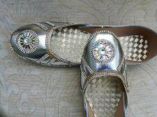 Señoras plata cuero Indio Boda Khussa zapatos talla 6