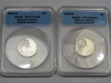 2 US Deep Cameo Proof Jefferson Nickels: 2007-s & 2008-s. ANACS PR70 DCAM.  #7