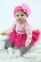 "22"" Reborn Baby Doll Handmade Newborn Lifelike Doll Soft Silicone Vinyl Girl New"