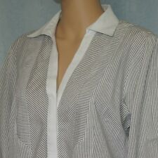 RIVERS Women's Button Up Blouse Grey White Top Collar Ladies Size 14 Business