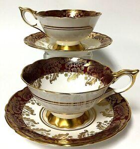 Vintage PAIR Royal Stafford Bone China Teacup W/ Saucers 8407 Maroon Fern Gold