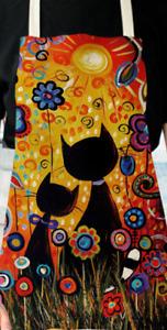 Tablier - Chat [fleurs] - Lin / coton - 53 cm x 65 cm - Neuf !!!