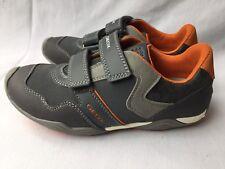 Geox RESPIRA Arno Big Kids Size 3 GRAY ORANGE Shoes Athleisure Athletic Casual