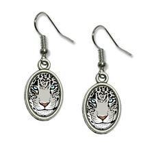 Snow Leopard - Big Cat - Novelty Dangling Drop Oval Charm Earrings
