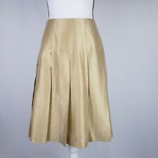 Banana Republic Dupioni Silk Skirt Size 6 Pleated Shimmery Gold Evening Party