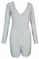 New Womens Ladies Black & White Striped Longsleeve Playsuit Size UK 6 8 10 12 14