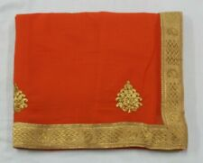 Embroidered Bollywood Designer Indian Saree Georgette Orange Sari Party Dress
