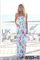UK Womens Bandeau Holiday Long Dress Ladies Summer Floral Maxi Dress Size 6 - 14