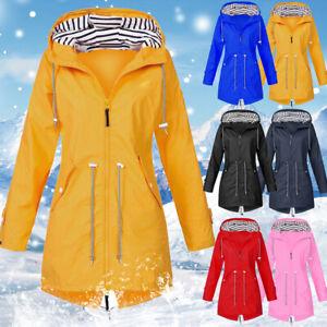 Women's Waterproof Raincoat Ladies Outdoor Wind Rain Forest Jacket Coat Rainy UK